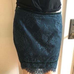 Cute teal lace skirt with velvet trim size large